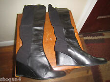Stuart Weitzman OTK thigh high heels boots black 9½ pull on leather wedge 50/50