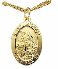 "St Michael Gold Over Sterling Silver Medal 7/8"" Saint Gift w/ 20"" Chain USA Made"