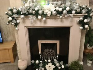 TWO MATCHING STUNNING LUXURY BESPOKE CHRISTMAS GARLANDS SILVER AND WHITE