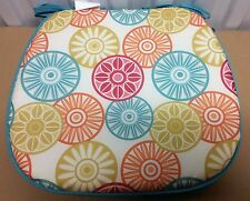 """Rare Set of 4 Kitchen Chair Pads Cushions w/strings, Colorful Circles, 15"""" x 15"""""""