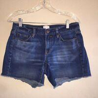 J.Crew Factory Blue Jean Denim Frayed Shorts Size 26