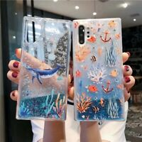 Marine Coral Shark Cat Liquid Glitter Quicksand  Dynamic Cell Phones Case Cover