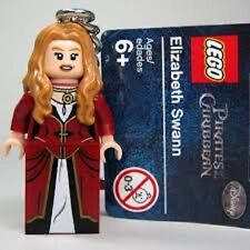 LEGO ELIZABETH SWANN Key Chain  Key Ring PIRATES XMAS STOCKING FILLER MINT