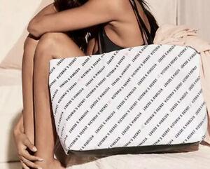 Victorias Secret Tote Bag Logo Two Sided Black White Weekender Zipper Top
