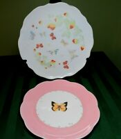 """Butterfly Plates Meadow Lenox & Other (2) 8"""" & 9.5"""" Dessert Salad Pink HG5"""
