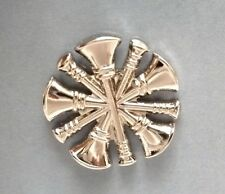 Pin Tac Silver 5 Crossed Bugles New Nickel Fire Chief Collar Device 2 Piece Set
