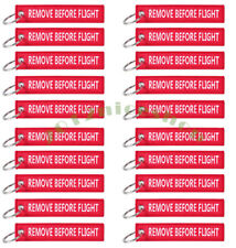LOT PACK OF 10 White / Red Remove Before Flight Keychain Aviation Tags Rings