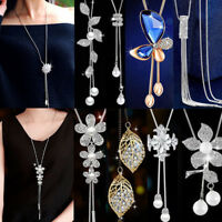 Fashion Women Crystal Rhinestone Pendant Sweater Tassel Chain Necklace Jewelry
