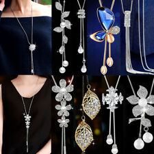 Women Elegant Long Necklace Pendant Chain Alloy Tassel Sweater Statement Jewelry