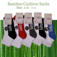 Bamboo Socks Ankle Low Cut Soft Cushion Work Sport Women size 2-11 White Black