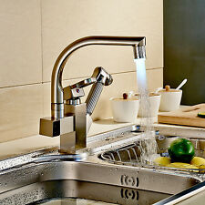 Brushed Nickel Pull out Spray Kitchen Sink Mixer Tap LED Swivel Spout Faucet