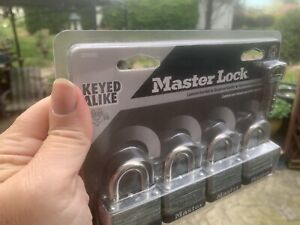 Master Lock 3009D Keyed-Alike Padlock, 4 Pack Sealed