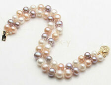 "2 Rows 8-9mm Genuine Natural Multicolor Freshwater Akoya Pearl Bracelet 8"" AAA+"