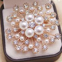 Women Round Scarf Crystal Rhinestone Faux Pearl Brooch Brooche Pin Gift WS