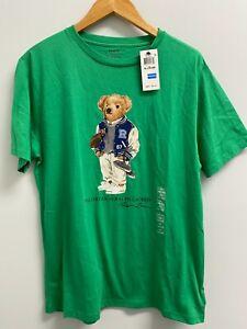 NEW POLO Ralph Lauren Big Boys XL(18-20) Football Bear Cotton Tee Green Varsity
