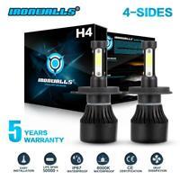 80W H4 HB2 9003 LED Headlight Bulb Hi/Low Beam Headlamp Kit 6000K 9600LM Light