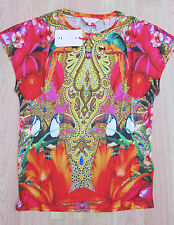 TED BAKER BNWT! *Toucan Clash* RED Top UK 10 8 1 Gold PARROT ~Floral~ BIRD Print