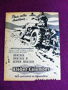 Ancien Carton Publicitaire KLEBER-COLOMBES TRACTEUR AGRICOLE