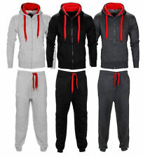 New Mens Contrast Cord Squad Fleece Warm Up Hooded Full Zip Jogging Tracksuit