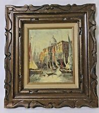 VINTAGE Antique ORIGINAL OIL Painting of boats on Italian harbor signed