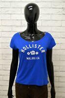 Maglia Donna HOLLISTER Taglia Size XL Maglietta Shirt Woman Cotone Blu Slim Fit