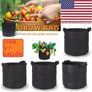 3/5/7Gallon Grow Bags Fabric Pots Set No-Woven Aeration Planter Handle Container