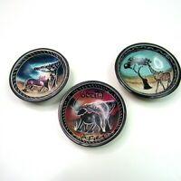 Hand Painted Set of 3 Small Bowls from South Africa Elephant Giraffe Lion Black