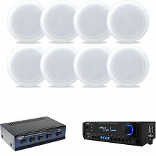 """5.25"""" 2Way In-Ceiling Speakers, Speaker Selector,Pyle USB AM/FM SD Home Receiver"""