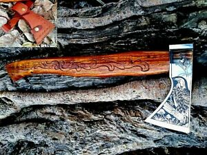 MDM Axe Viking Engraved Hand Tomahawk Mdm Custom Forged Vintage Medieval Viking