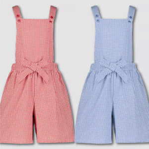 Bibshorts Girls Red Blue Gingham Easy iron School Summer Dress Playsuit 2-12 Yrs