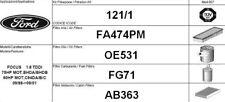 121/1 KIT 4 FILTRI TAGLIANDO FORD FOCUS 1.8 TDDI KW 66 CV 90 FINO AL 09/2001