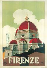 Firenze Cupola (Florence Dome) Italian Vintage Style Travel Poster Poster, 20x28