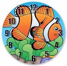 "10.5"" CARTOON CLOWN FISH SEA CREATURES KIDS CLOCK - Large 10.5"" Clock - 3343"