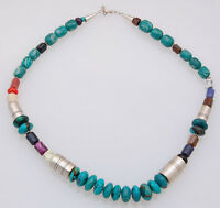 Navajo Handmade by Tommy Singer Multi-Stone and Sterling Silver Necklace