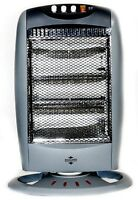 Home & Office Electric 1200W Portable Oscillating Halogen Heater - Grey / Silver