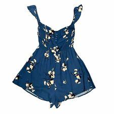 Lush Florence Blue Floral Off Shoulder Romper Women Size 6 Shorts Smocked Bodice