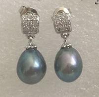 Kultiviertes schwarz Süßwasser Perle Ohrringe