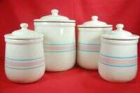 Vintage McCoy Canister Set PINK & BLUE STRIPE 4 Pieces With Lids