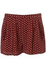Topshop Women's Loose White Burgundy Polka Dot Claret 2x Pocket Summer Shorts 8