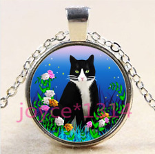Vintage Cute Cat Cabochon Tibetan silver Glass Chain Pendant Necklace #4176