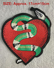Snake Heart Embroidered patch Fashion Applique Decoration Sew on For DIY Rocker
