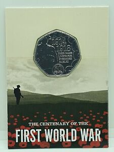 2018 Centenary of the First World War BU 50p - Carded Brilliant Uncirculated