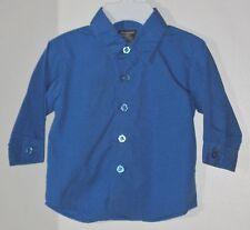 DOCKERS Boys Size 6-9 Months Blue Button Up Long Sleeve Shirt