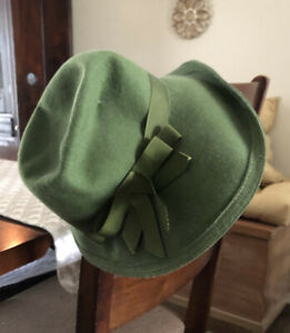 Vintage Green 100% Wool Union Made TNL Neumann Hat