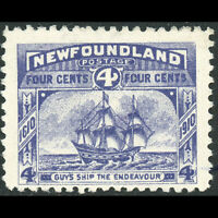 NEWFOUNDLAND Canada 1910 4c Violet. Ship. SG 98. Lightly Hinged Mint. (WC159)