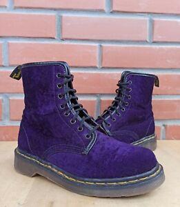 Dr Martens England 1460 Women 5 UK 7 US Vintage Boots 8 eye Purple Velvet Fabric