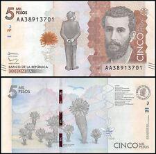 Colombia P459, 5000 Peso, poet José Silva, puya plant / Silva poem, bumblebee