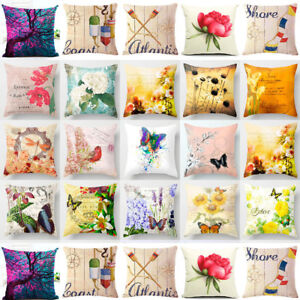 Vintage Flower Cotton Linen Throw Pillow Case Cushion Cover Home Decor 18x18