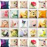 Vintage Flower Cotton Linen Throw Pillow Case Cushion Cover Home Decor 18x18