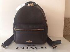 NWT. Coach Pebble Leather Mini Charlie Backpack Bag Black F38263